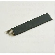 Игла с пластиковой пленкой 16F для микроблейдинга черная