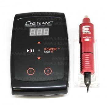 Профессиональная машинка для татуировок и татуажа Equaliser Proton mx Red с модульными иглами и блоком Шаен в комплекте