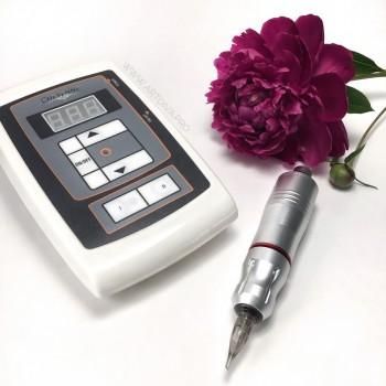 Ручка EZ pen серебристый для пикселей татуажа и татуировок в комплекте с блоком питания Шаен
