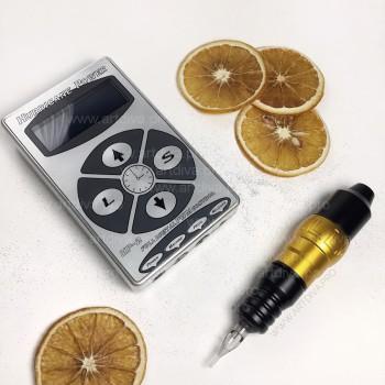Роторная тату машинка для татуажа и татуировок H-star pen с картриджами и блоком Хурикан в комплекте