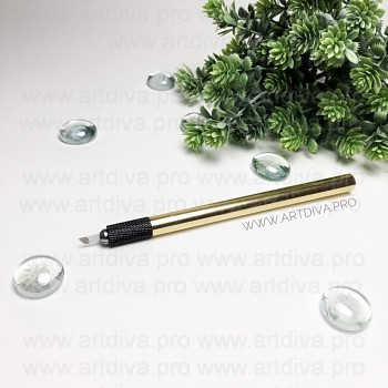 Манипула ручка с одним держателем иглы, цвет золотой для микроблейдинга