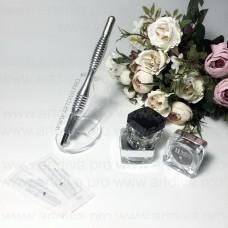 Ручка для ручной техники татуажа, металлическая, двойная, с поворотным механизмом